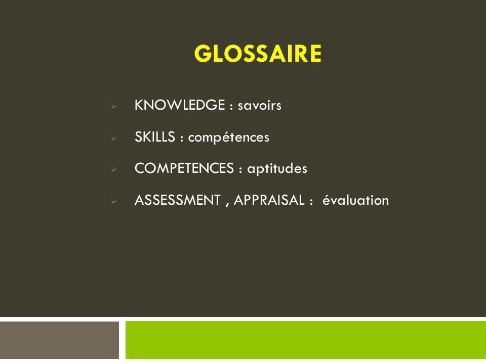 KNOWLEDGE : savoirs  SKILLS : compétences  COMPETENCES : aptitudes  ASSESSMENT, APPRAISAL : évaluation GLOSSAIRE