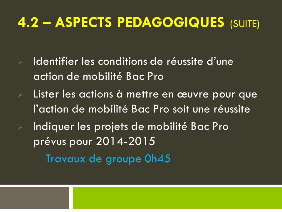 4.2 – ASPECTS PEDAGOGIQUES (SUITE)  Identifier les conditions de réussite d'une action de mobilité Bac Pro  Lister les actions à mettre en œuvre pour que l'action de mobilité Bac Pro soit une réussite  Indiquer les projets de mobilité Bac Pro prévus pour 2014-2015 Travaux de groupe 0h45