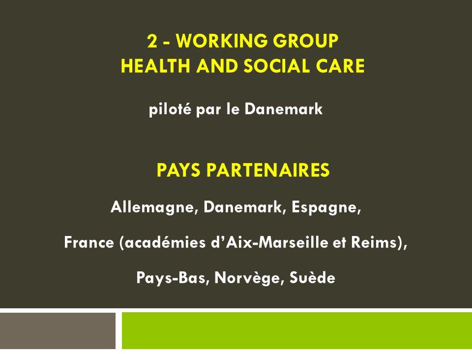 PAYS PARTENAIRES Allemagne, Danemark, Espagne, France (académies d'Aix-Marseille et Reims), Pays-Bas, Norvège, Suède piloté par le Danemark 2 - WORKING GROUP HEALTH AND SOCIAL CARE