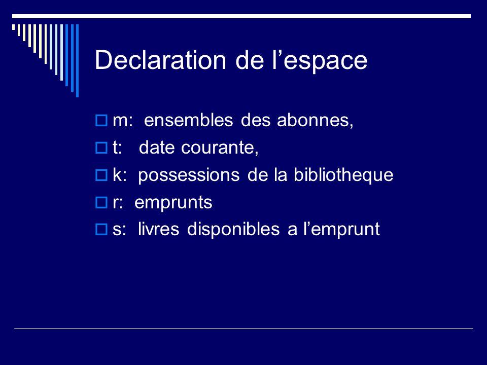 Declaration de l'espace  m: ensembles des abonnes,  t: date courante,  k: possessions de la bibliotheque  r: emprunts  s: livres disponibles a l'emprunt
