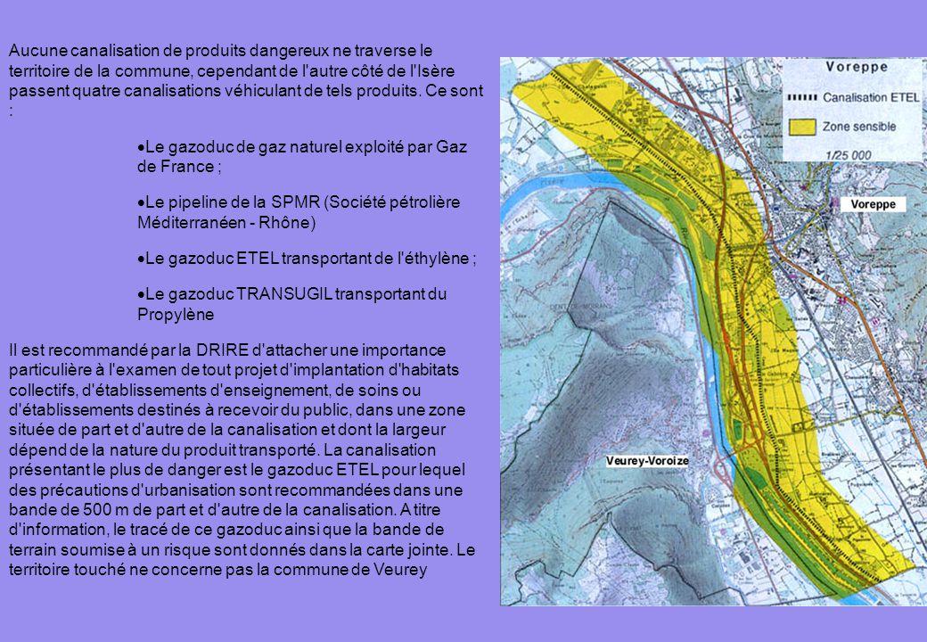 Aucune canalisation de produits dangereux ne traverse le territoire de la commune, cependant de l'autre côté de l'Isère passent quatre canalisations v