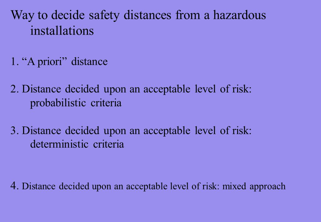 Way to decide safety distances from a hazardous installations 1.