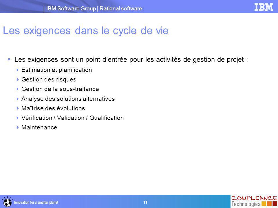 IBM Software Group | Rational software 11 Les exigences dans le cycle de vie  Les exigences sont un point d'entrée pour les activités de gestion de p