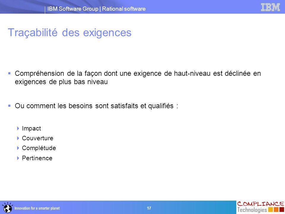 IBM Software Group | Rational software 17 Traçabilité des exigences  Compréhension de la façon dont une exigence de haut-niveau est déclinée en exige