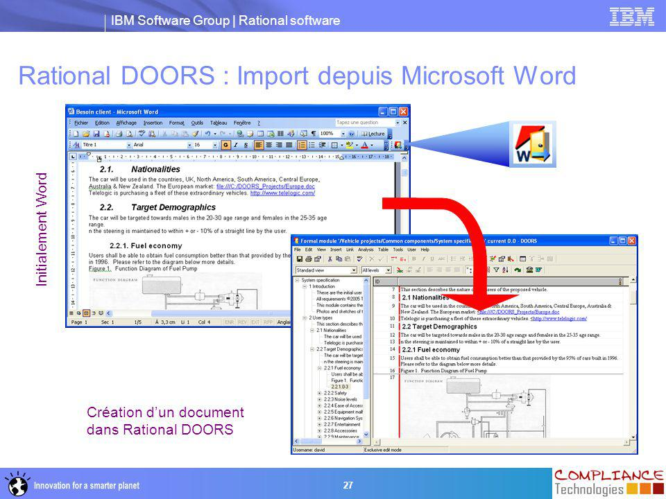 IBM Software Group | Rational software 27 Rational DOORS : Import depuis Microsoft Word Initialement Word Création d'un document dans Rational DOORS