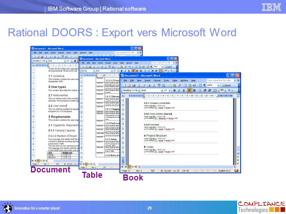 IBM Software Group | Rational software 29 Rational DOORS : Export vers Microsoft Word Document Table Book
