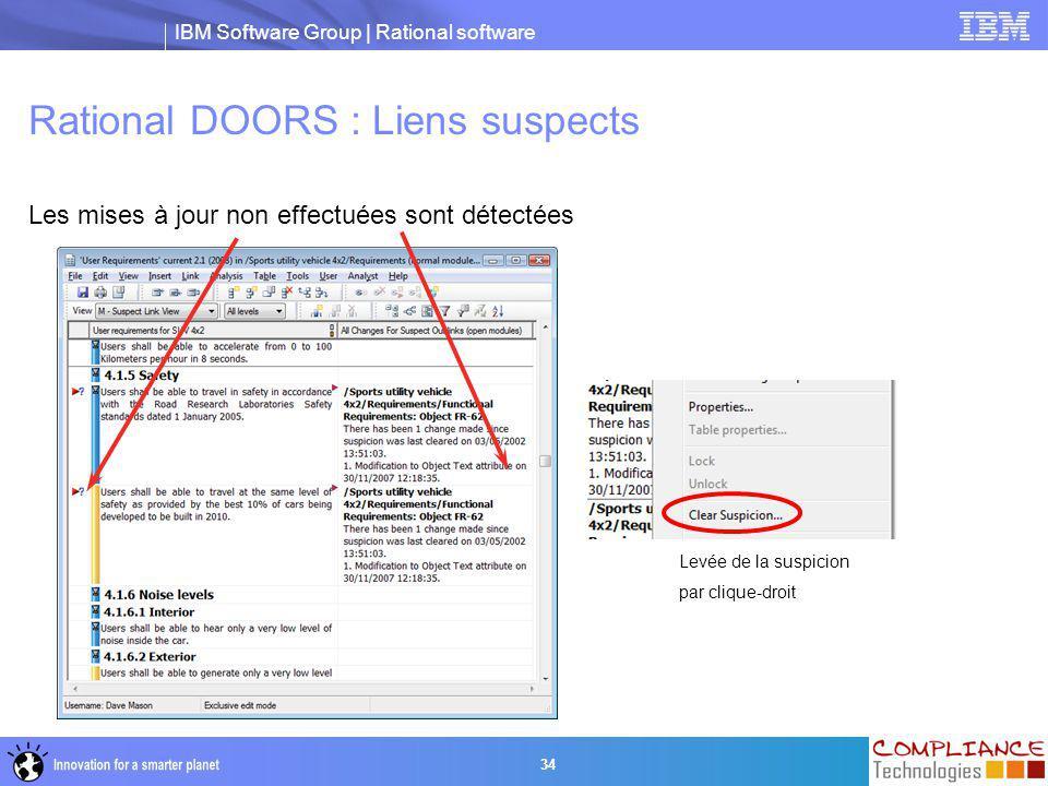 IBM Software Group | Rational software 34 Rational DOORS : Liens suspects Les mises à jour non effectuées sont détectées Levée de la suspicion par cli