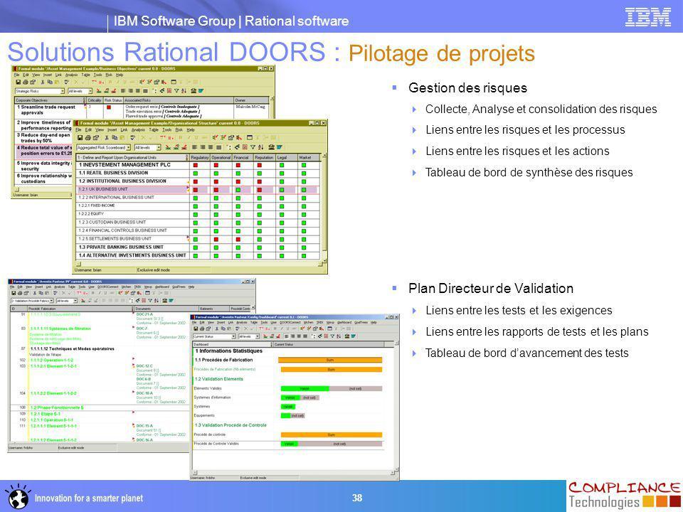 IBM Software Group | Rational software 38 Solutions Rational DOORS : Pilotage de projets  Gestion des risques  Collecte, Analyse et consolidation de