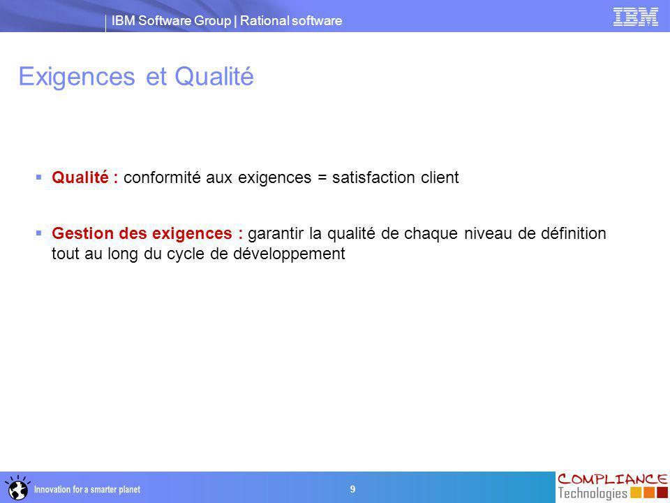 IBM Software Group | Rational software 20 Exigences Système Analyse de couverture Exigences Client Validation satisfait Qualification vérifie Architecture Vérification Standards % Complétude … .