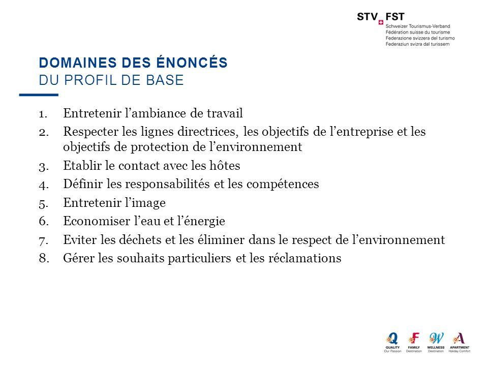DOMAINES DES ÉNONCÉS 1.Entretenir l'ambiance de travail 2.Respecter les lignes directrices, les objectifs de l'entreprise et les objectifs de protecti