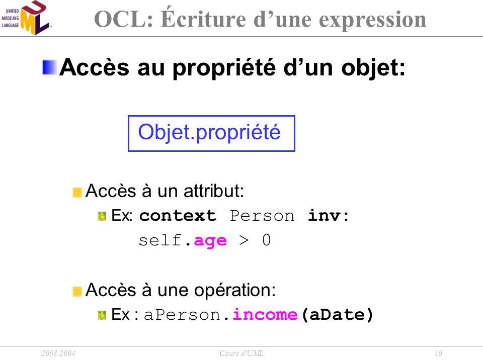 2003/2004Cours d'UML10 OCL: Écriture d'une expression Accès au propriété d'un objet: Objet.propriété Accès à un attribut: Ex: context Person inv: self