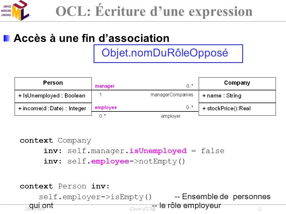 2003/2004Cours d'UML11 OCL: Écriture d'une expression Accès à une fin d'association Objet.nomDuRôleOpposé context Company inv: self.manager.isUnemploy