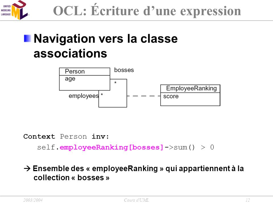 2003/2004Cours d'UML12 OCL: Écriture d'une expression Navigation vers la classe associations Context Person inv: self.employeeRanking[bosses]->sum() >