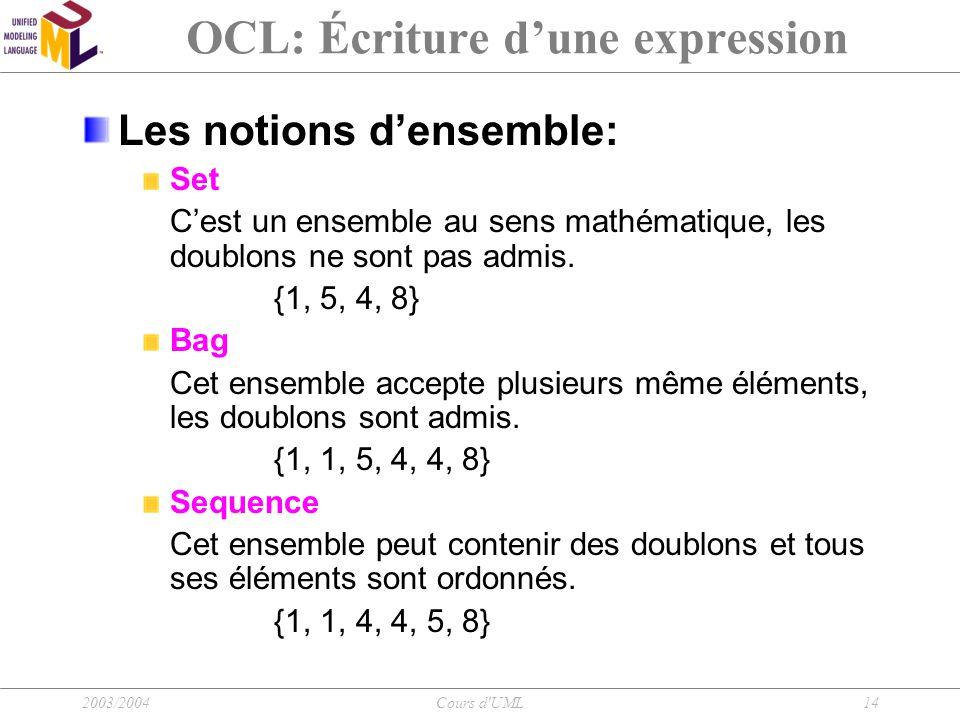 2003/2004Cours d'UML14 OCL: Écriture d'une expression Les notions d'ensemble: Set C'est un ensemble au sens mathématique, les doublons ne sont pas adm