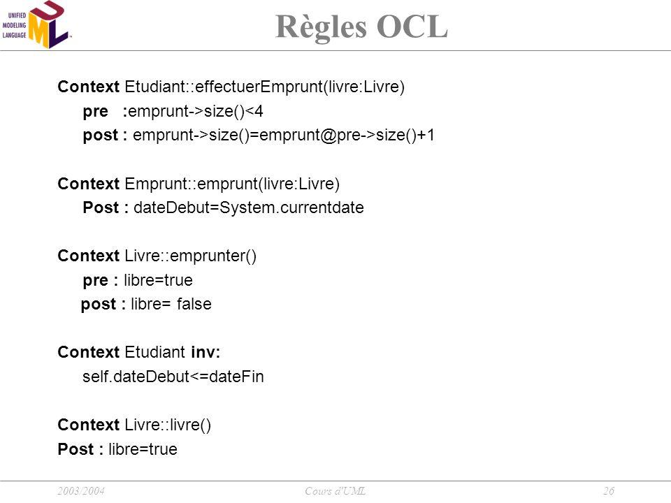 2003/2004Cours d'UML26 Règles OCL Context Etudiant::effectuerEmprunt(livre:Livre) pre :emprunt->size()<4 post : emprunt->size()=emprunt@pre->size()+1