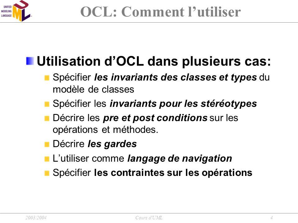 2003/2004Cours d'UML4 OCL: Comment l'utiliser Utilisation d'OCL dans plusieurs cas: Spécifier les invariants des classes et types du modèle de classes