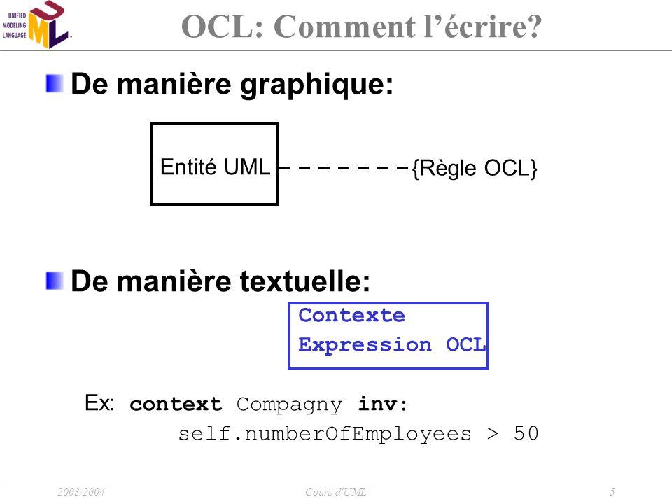 2003/2004Cours d UML16 OCL: Écriture d'une expression Sélection dans un sous ensemble Collection->select(…) Ex : context Company inv: self.employee->select(age>50)->notEmpty() Rejet d'un élément d'une collection Collection->reject(…) Ex: context Company inv: self.employee-> reject (isMarried)->isEmpty()