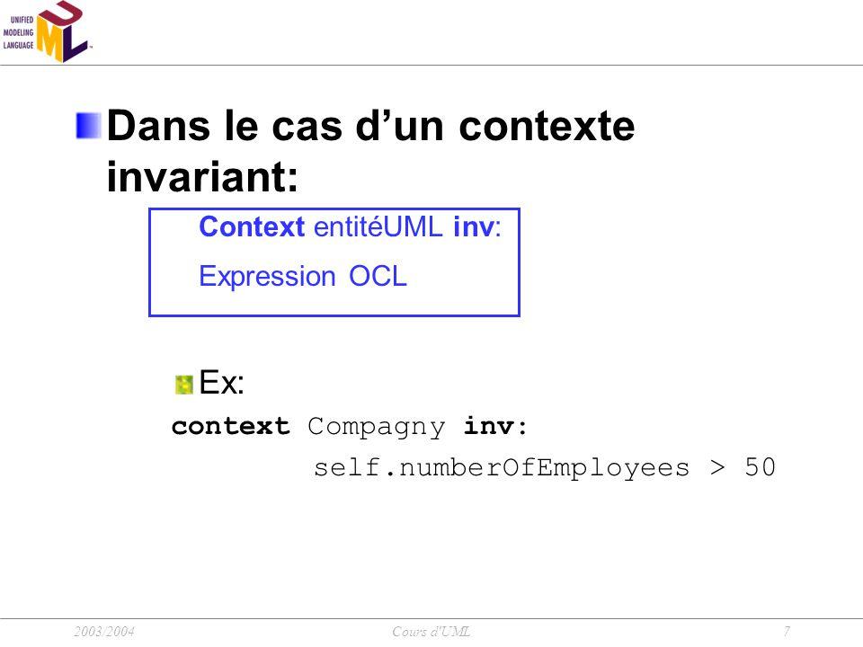 2003/2004Cours d UML8 OCL: Le contexte (2/2) Dans le cas d'un contexte pre et postconditions S'applique aux opérations Context typeName::opérationName(param1: type1,...):ReturnType pre : param1>...
