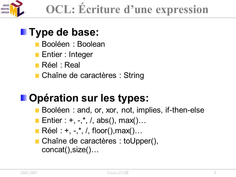 2003/2004Cours d UML10 OCL: Écriture d'une expression Accès au propriété d'un objet: Objet.propriété Accès à un attribut: Ex: context Person inv: self.age > 0 Accès à une opération: Ex : aPerson.income(aDate)