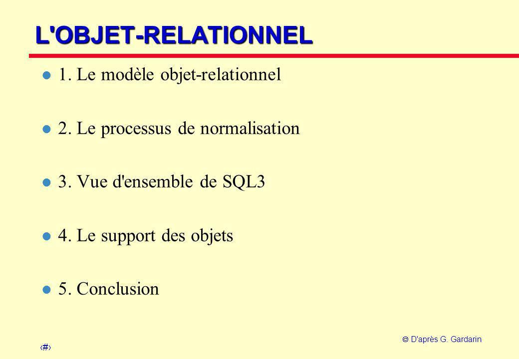 1  D'après G. Gardarin L'OBJET-RELATIONNEL l 1. Le modèle objet-relationnel l 2. Le processus de normalisation l 3. Vue d'ensemble de SQL3 l 4. Le su