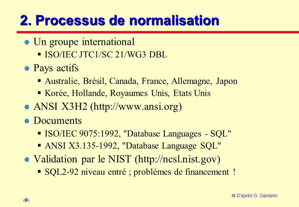 10  D'après G. Gardarin 2. Processus de normalisation l Un groupe international  ISO/IEC JTC1/SC 21/WG3 DBL l Pays actifs  Australie, Brésil, Canad