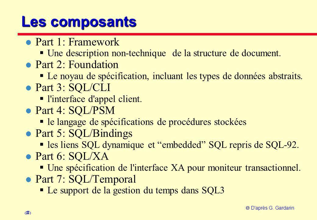 11  D'après G. Gardarin Les composants l Part 1: Framework  Une description non-technique de la structure de document. l Part 2: Foundation  Le noy
