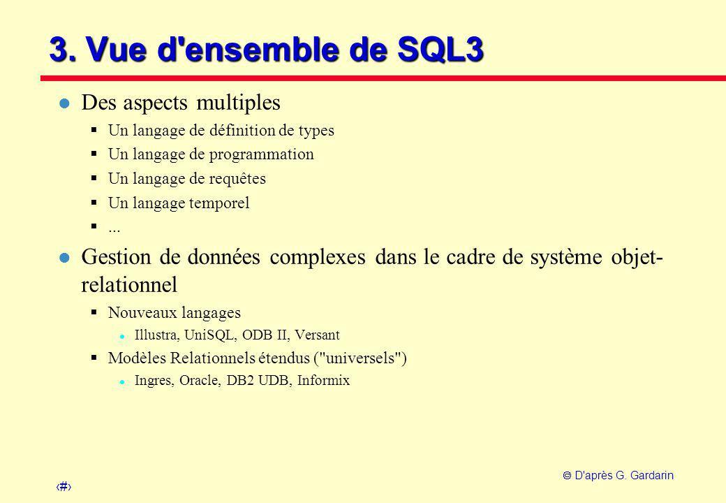 13  D'après G. Gardarin 3. Vue d'ensemble de SQL3 l Des aspects multiples  Un langage de définition de types  Un langage de programmation  Un lang