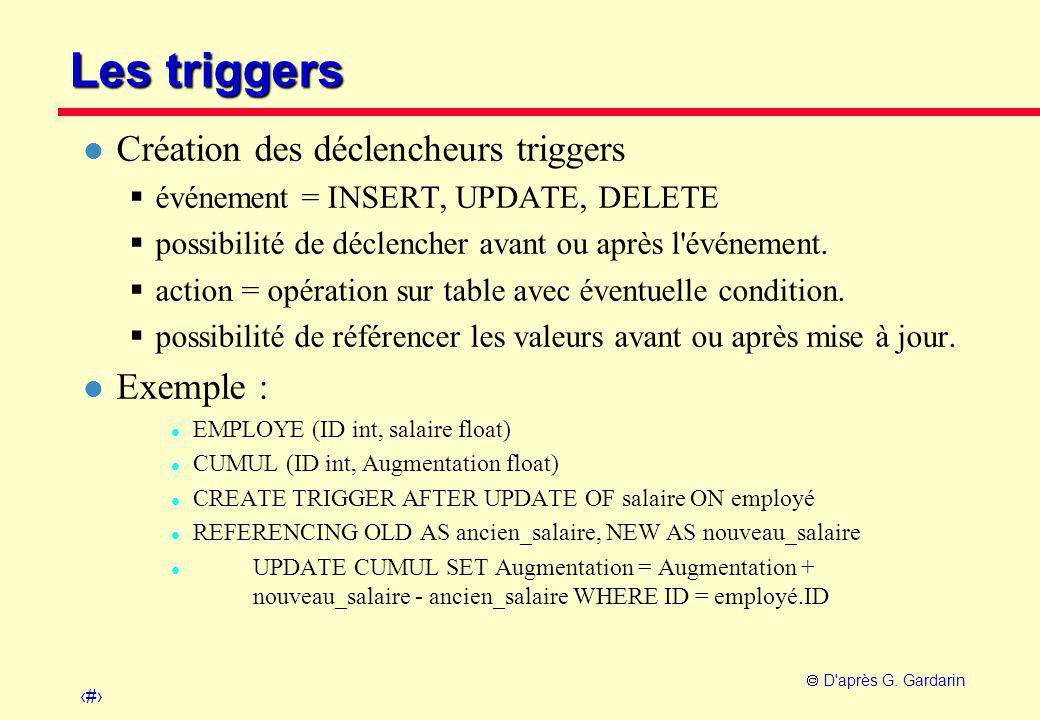 15  D'après G. Gardarin Les triggers l Création des déclencheurs triggers  événement = INSERT, UPDATE, DELETE  possibilité de déclencher avant ou a