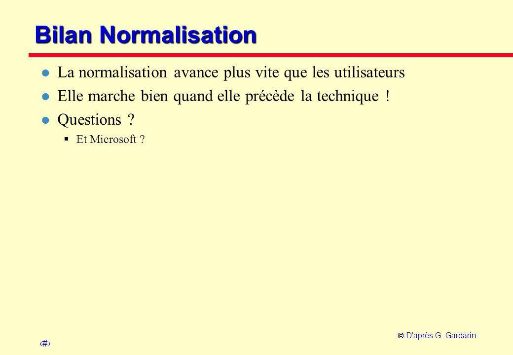 17  D'après G. Gardarin Bilan Normalisation l La normalisation avance plus vite que les utilisateurs l Elle marche bien quand elle précède la techniq