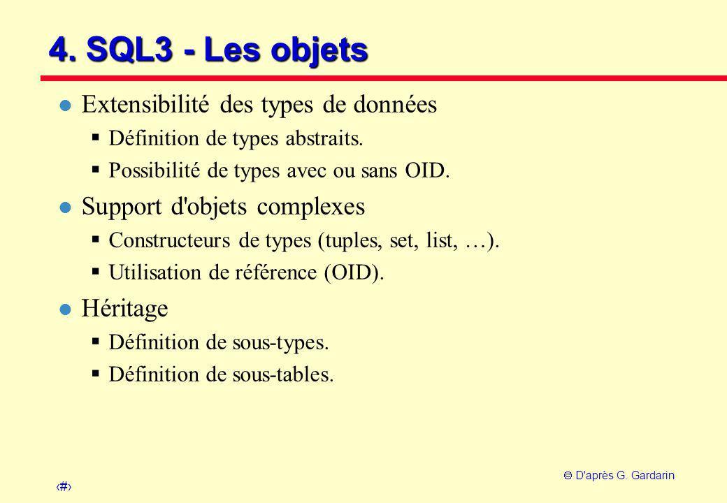 18  D'après G. Gardarin 4. SQL3 - Les objets l Extensibilité des types de données  Définition de types abstraits.  Possibilité de types avec ou san