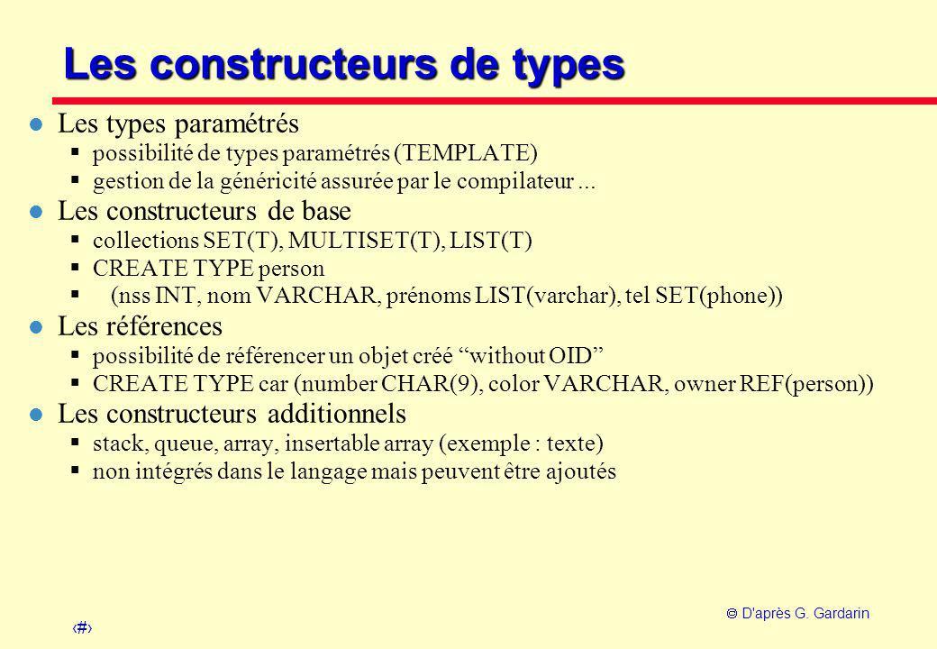 21  D'après G. Gardarin Les constructeurs de types l Les types paramétrés  possibilité de types paramétrés (TEMPLATE)  gestion de la généricité ass