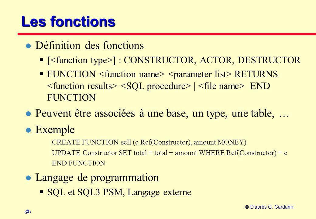 22  D'après G. Gardarin Les fonctions l Définition des fonctions  [ ] : CONSTRUCTOR, ACTOR, DESTRUCTOR  FUNCTION RETURNS | END FUNCTION l Peuvent ê