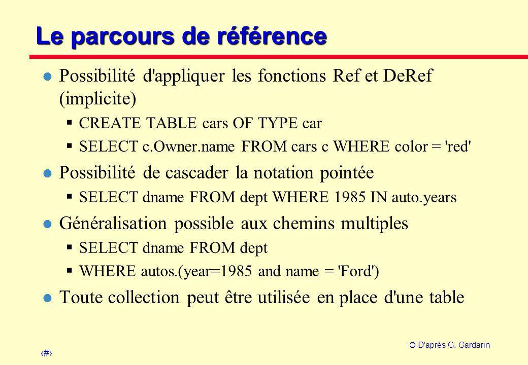25  D'après G. Gardarin Le parcours de référence l Possibilité d'appliquer les fonctions Ref et DeRef (implicite)  CREATE TABLE cars OF TYPE car  S