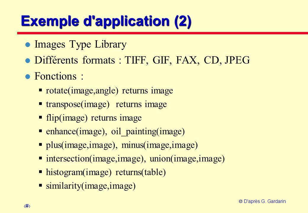 29  D'après G. Gardarin Exemple d'application (2) l Images Type Library l Différents formats : TIFF, GIF, FAX, CD, JPEG l Fonctions :  rotate(image,