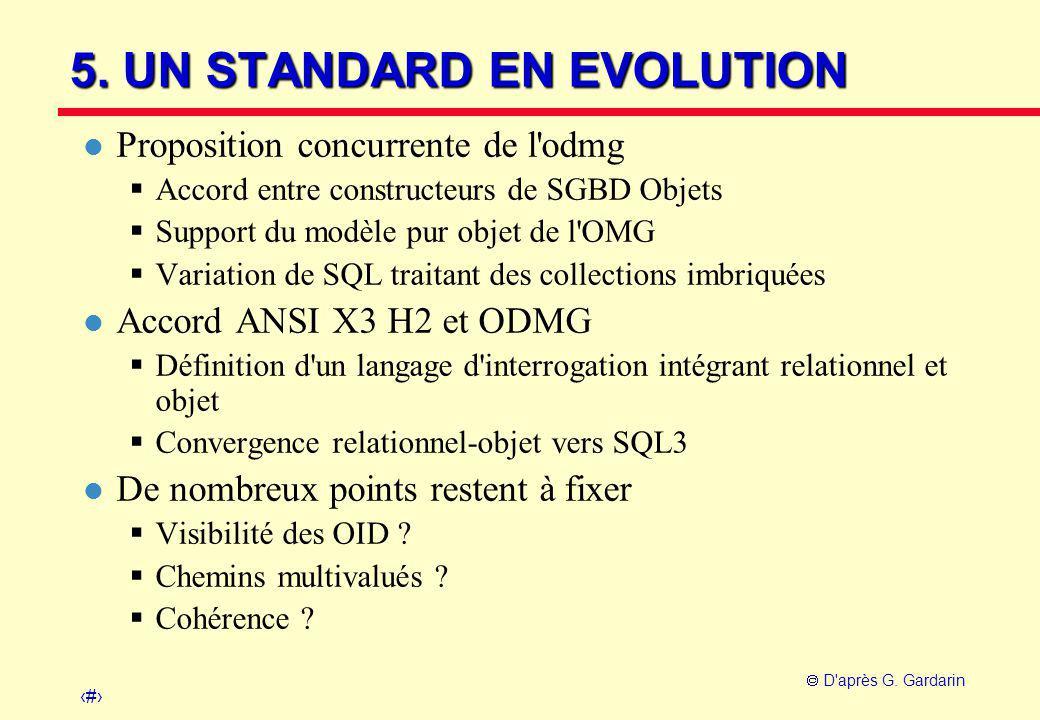 30  D'après G. Gardarin 5. UN STANDARD EN EVOLUTION l Proposition concurrente de l'odmg  Accord entre constructeurs de SGBD Objets  Support du modè