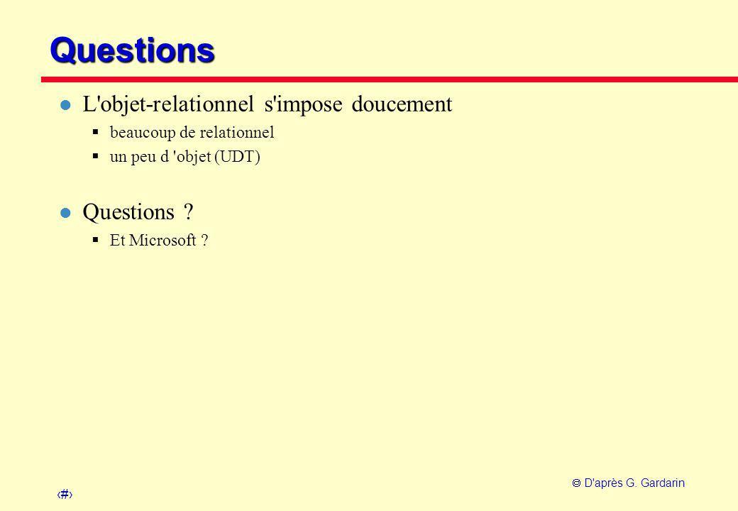32  D'après G. Gardarin Questions l L'objet-relationnel s'impose doucement  beaucoup de relationnel  un peu d 'objet (UDT) l Questions ?  Et Micro