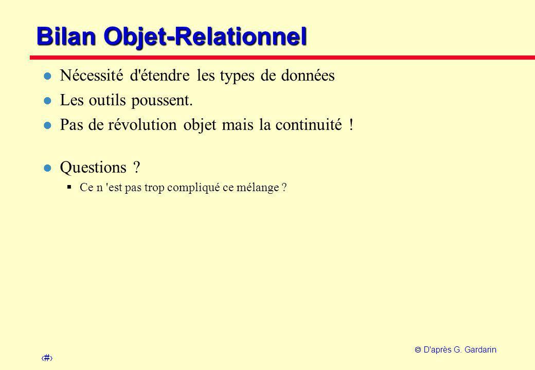 9  D'après G. Gardarin Bilan Objet-Relationnel l Nécessité d'étendre les types de données l Les outils poussent. l Pas de révolution objet mais la co