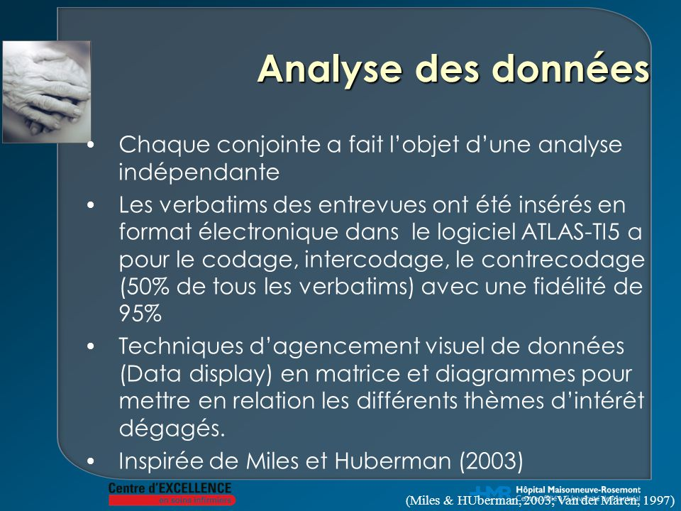 Analyse des données Chaque conjointe a fait l'objet d'une analyse indépendante Les verbatims des entrevues ont été insérés en format électronique dans