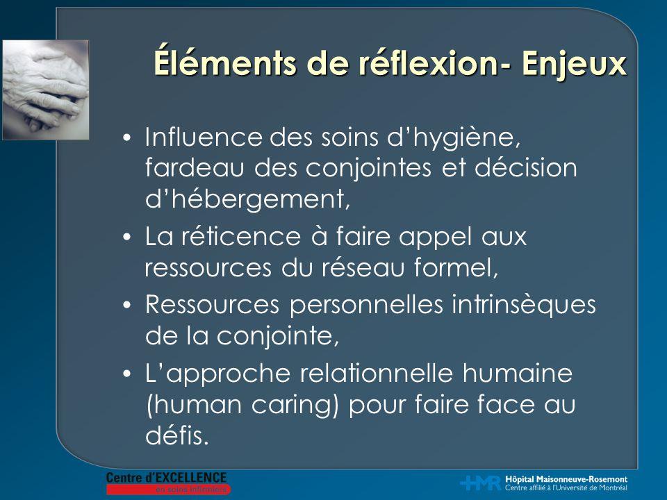 Éléments de réflexion- Enjeux Influence des soins d'hygiène, fardeau des conjointes et décision d'hébergement, La réticence à faire appel aux ressourc