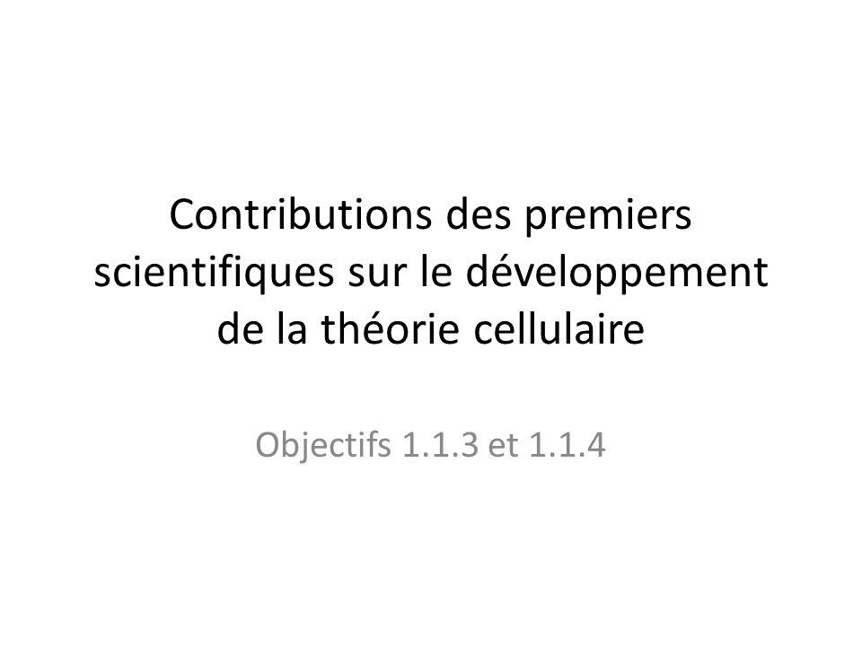Contributions des premiers scientifiques sur le développement de la théorie cellulaire Objectifs 1.1.3 et 1.1.4