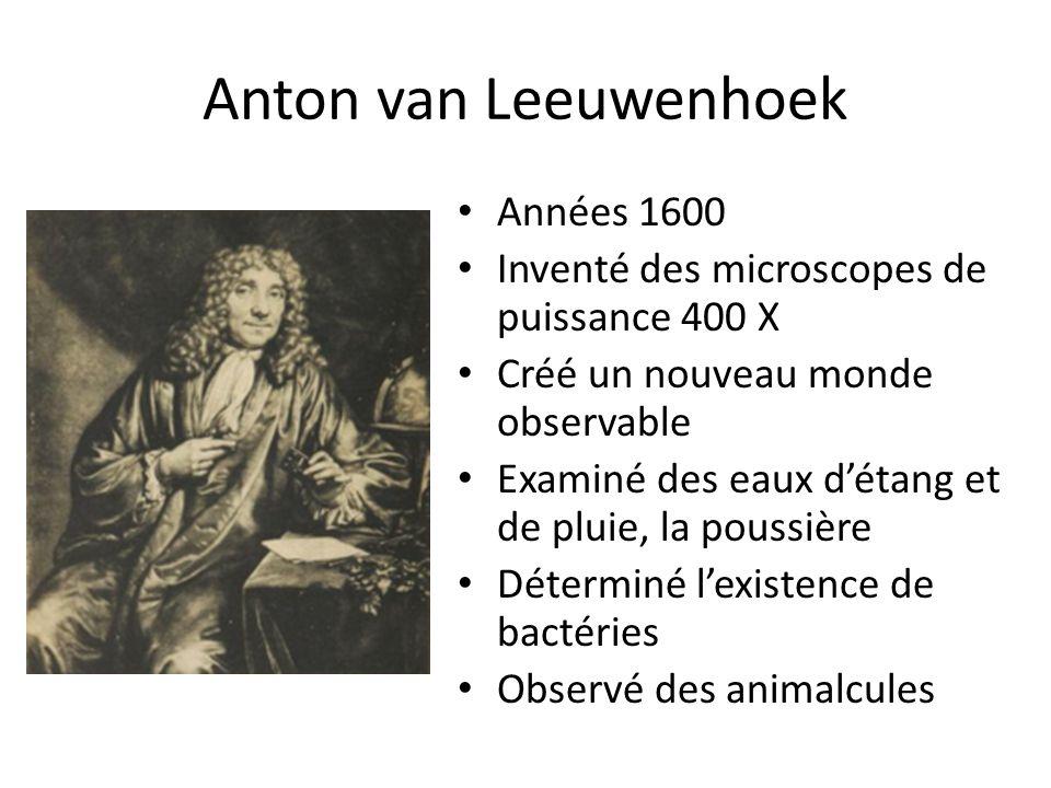 Anton van Leeuwenhoek Années 1600 Inventé des microscopes de puissance 400 X Créé un nouveau monde observable Examiné des eaux d'étang et de pluie, la poussière Déterminé l'existence de bactéries Observé des animalcules
