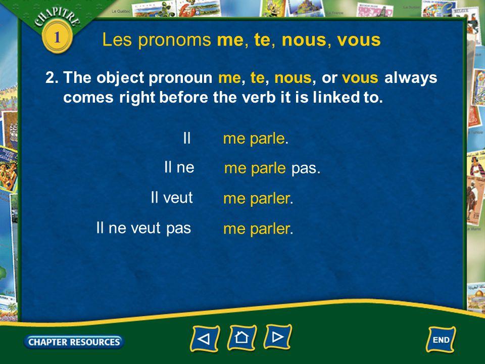 1 Les pronoms me, te, nous, vous 1.The pronouns me, te, nous, and vous are object pronouns. Marie t'invite au théâtre? Oui, elle m'invite au théâtre.
