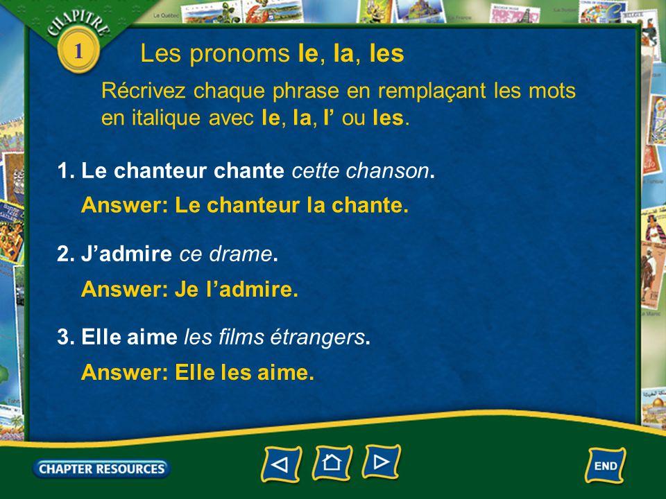 1 Les pronoms le, la, les 2. Just as with the pronouns me, te, nous, vous, the pronouns le, la, l', and les come right before the verb they are linked