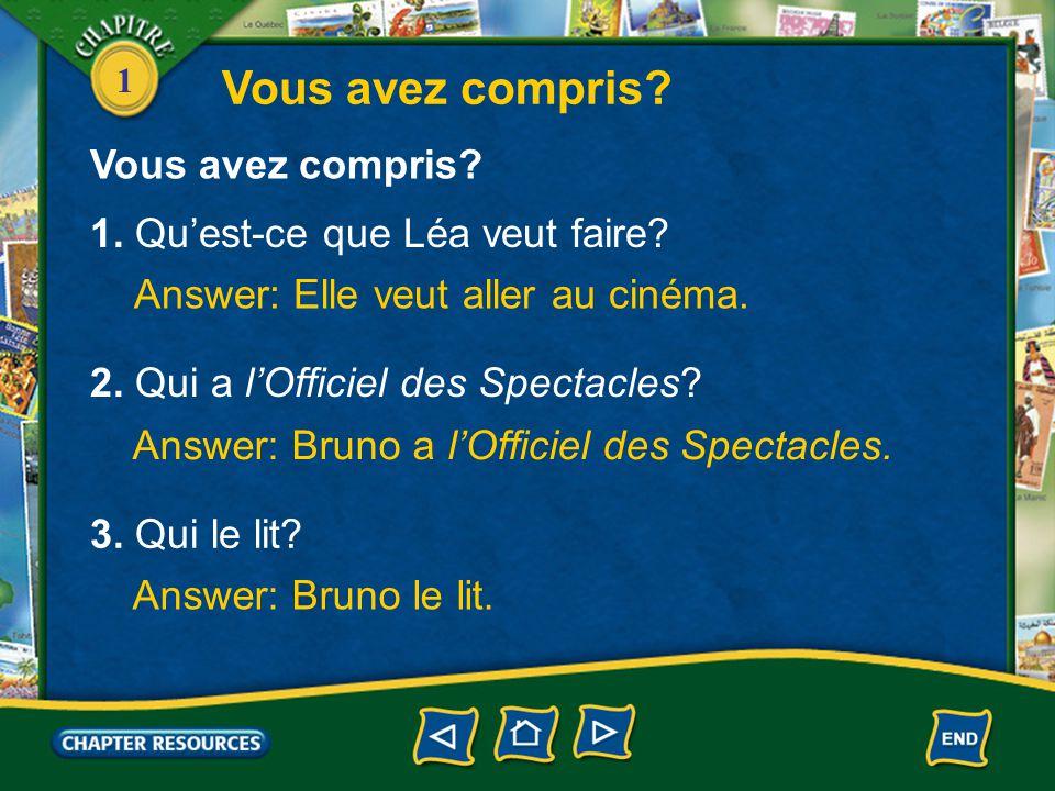 1 Conversation Bruno: Qu'est-ce que tu veux faire? Léa: Je ne sais pas, moi. Aller au cinéma. Bruno: Qu'est-ce que tu veux voir? Léa: Ça m'est égal. C