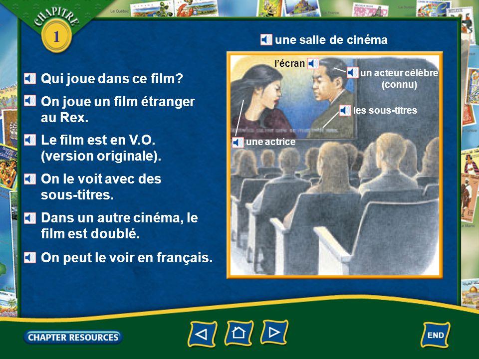 1 Au cinéma Pierre est devant le guichet. La prochaine séance est à treize heures. Une place, s'il vous plaît. un cinéma une séance un guichet