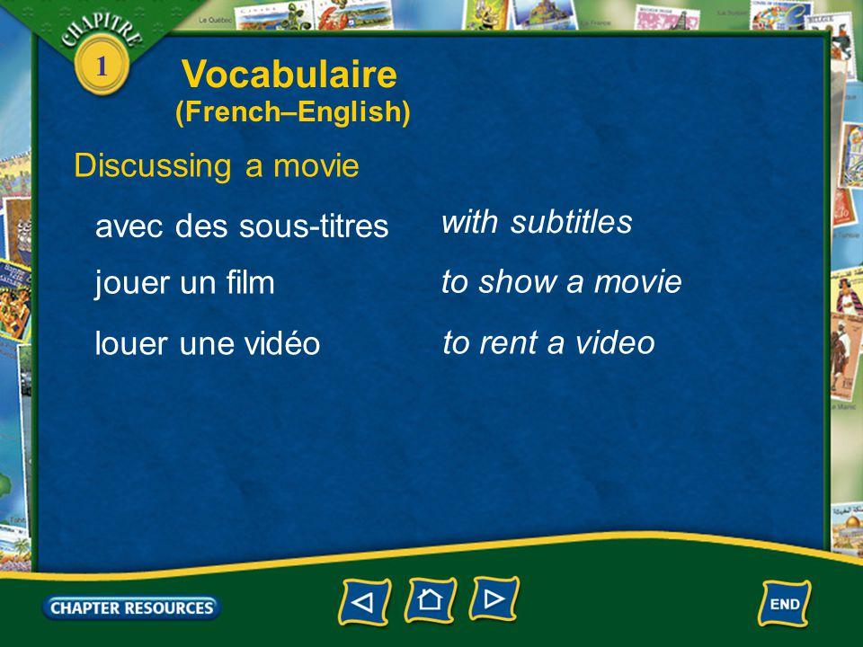 1 Discussing a movie un documentaire un dessin animé a documentary a cartoon étranger foreign en V.O. in the original version doublé dubbed Vocabulair