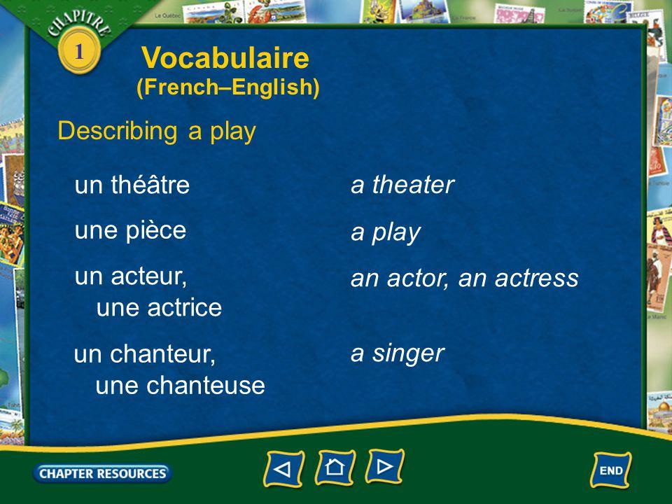 1 Discussing a movie avec des sous-titres jouer un film with subtitles to show a movie louer une vidéo to rent a video Vocabulaire (French–English)