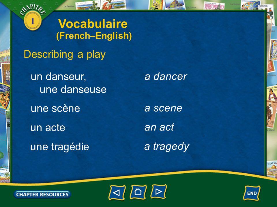 1 Describing a play un théâtre une pièce un acteur, une actrice a theater a play an actor, an actress un chanteur, une chanteuse a singer Vocabulaire (French–English)