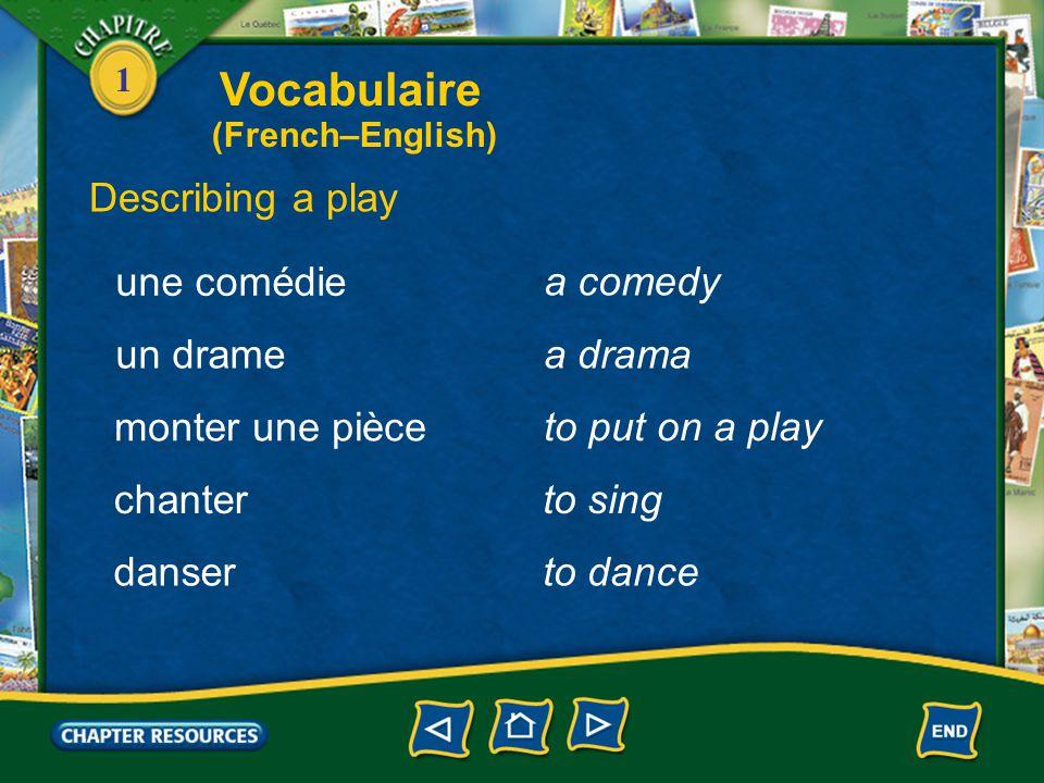 1 Describing a play un danseur, une danseuse une scène a dancer a scene un acte an act une tragédie a tragedy Vocabulaire (French–English)