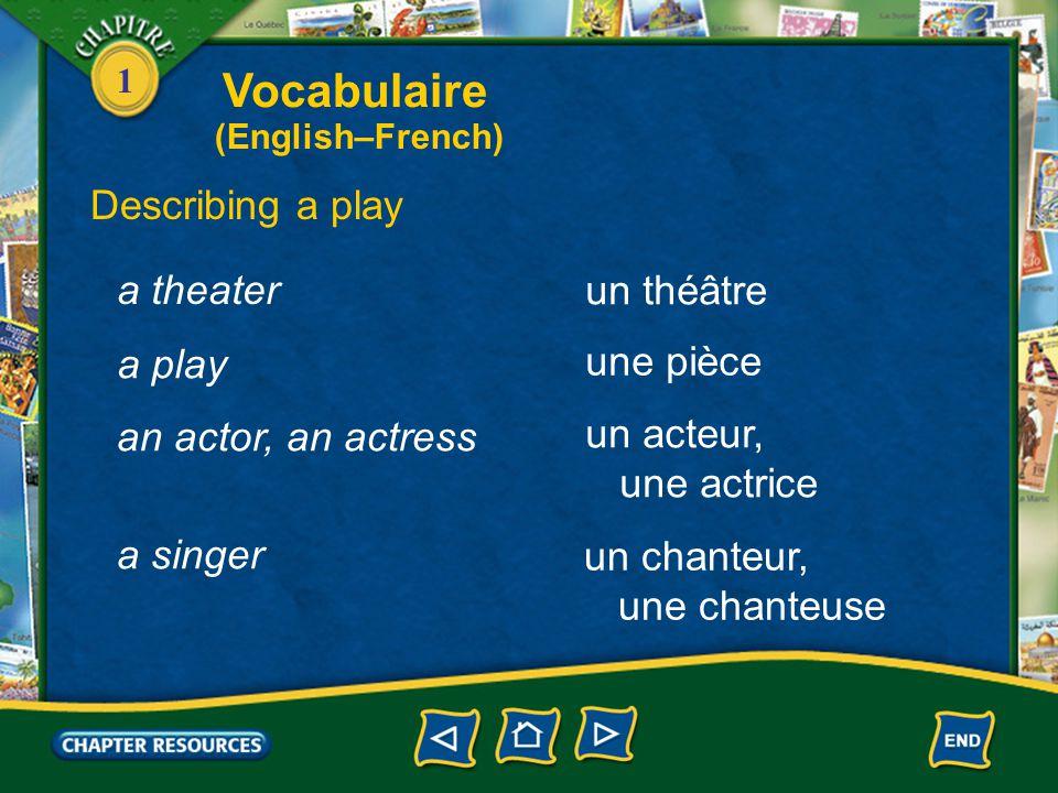 1 Discussing a movie avec des sous-titres jouer un film with subtitles to show a movie louer une vidéo to rent a video Vocabulaire (English–French)